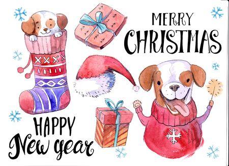Christmas set:  gift boxes, cartoon dog, gift box. Watercolor hand drawn illustration. Stock fotó