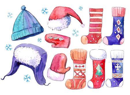 Sea of watercolor socks, hats, mittens. Hand drawn illustration.