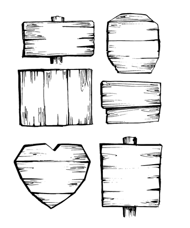 Set of wooden signs. Illusztráció