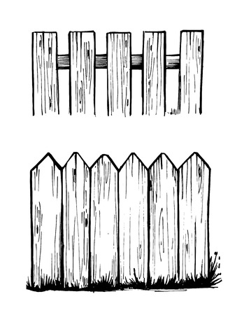 Sketch of wooden fences.