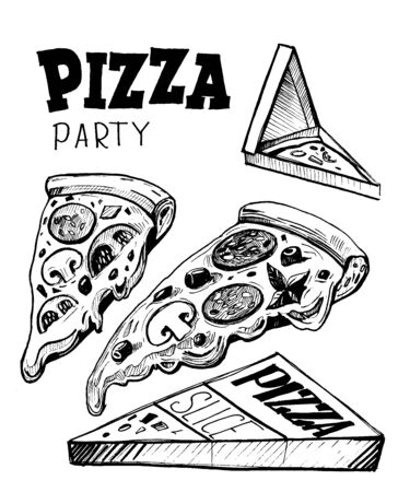 Slice of pizza with box. Illusztráció