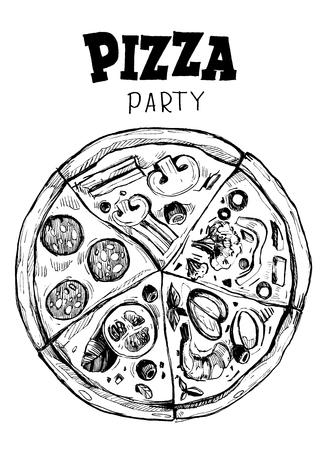 Pizza with different slices. Illusztráció