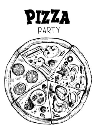 Pizza with different slices. Hand drawn vector illustration