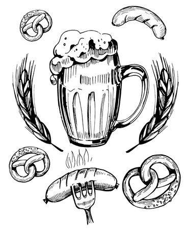 Sketch a mug of beer with snacks: sausages, pretzels. Hand drawn illustration converted to vector