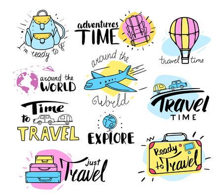Vector set of travel labels, emblems and design elements. Hand drawn style