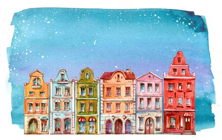 Christmas watercolor illustration with winter, snow and cute houses. Hand drawn Stock fotó