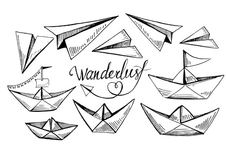 Set of paper boats and planes. Vector sketch.