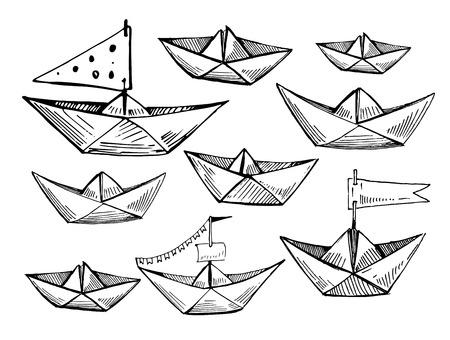 Set of paper boats. Hand drawn vector sketch  Illusztráció