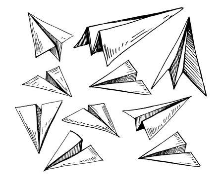 Set of paper planes. Hand drawn vector illustration Illusztráció