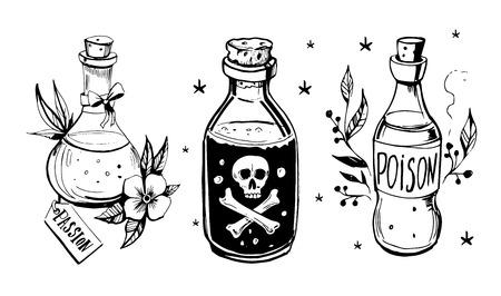 Bouteilles avec des potions. Poison et philtre d'amour. Illustration dessinée à la main convertie en vecteur.