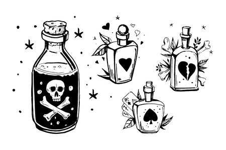 Bottles with potions. Poison and love potion. Hand drawn illustration converted to vector. Illusztráció