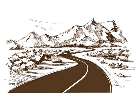 Road. Hand drawn Vector Illustration