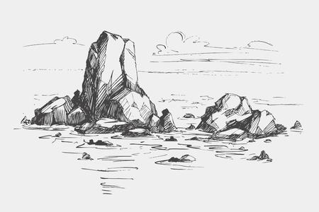 Rocks in the sea. Vector illustration.