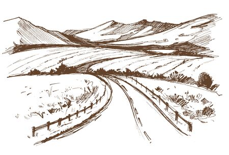 Hand drawn illustration of a road with fences