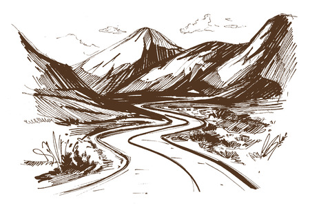 Hand drawn illustration of a long and winding road