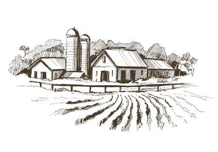 Countryside sketch. Hand drawn illustration converted to vector Illusztráció