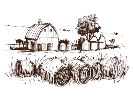 Countryside sketch. Hand drawn illustration converted to vector Stock fotó