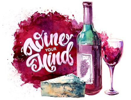 Background with a bottle of red wine, chee, glass of wine and lettering . Hand drawn watercolor illustration