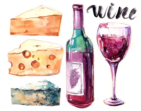 Watercolor set with chees, bottle of red wine and glass. Hand drawn illustration