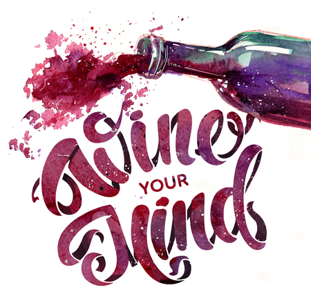 A bottle of red wine and lettering. Hand drawn watercolor illustration Stock fotó