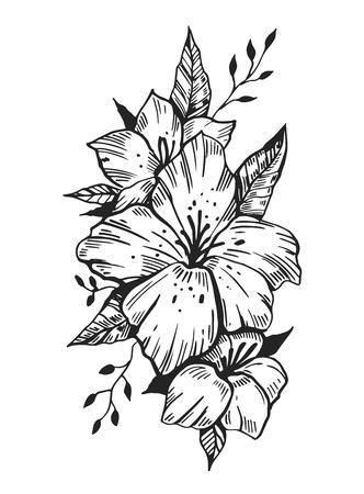 Flowers vector sketch.