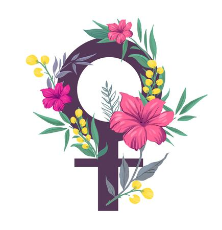 Girl power. Symbol of feminism with flowers. Vector illustration