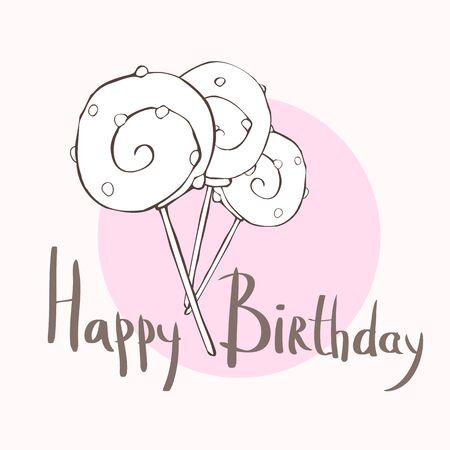 sugarplum: Happy birthday card with three lollipops, illustration