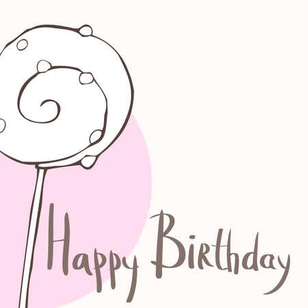 sugarplum: Happy birthday card with one lollipop, illustration