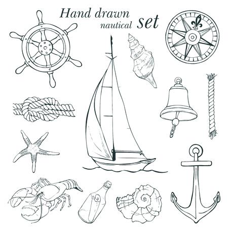 bateau voile: ensemble nautique, illustration Illustration
