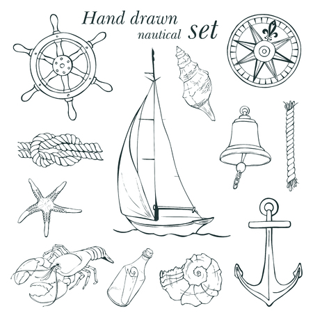 old boat: nautical set, illustration