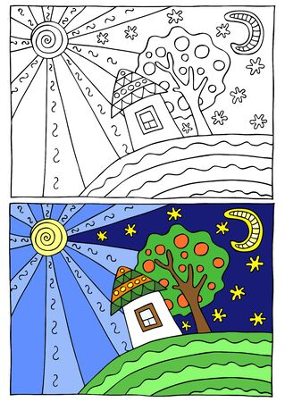coloration: Children coloring illustration, cute house
