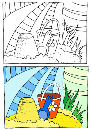 sandbox: Children coloring, sandbox Illustration