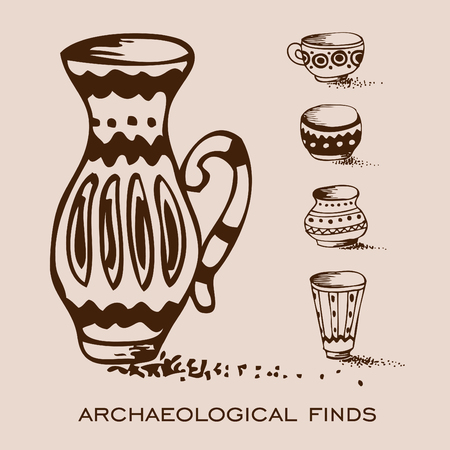 archaeological: archaeological finds. vases and pitchers monochrome freehand sketchy