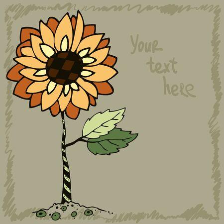 postcard: doodle sunflower, postcard