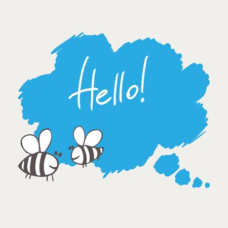 buble: hand drawing communication buble with two bees on grey background