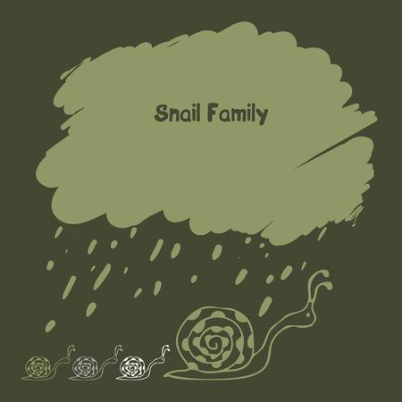 slither: cartoon snail family under rainy cloud Illustration