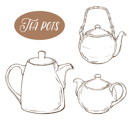Set with three different teapots, isolated elements on white background. Vector illustration Stock Illustratie