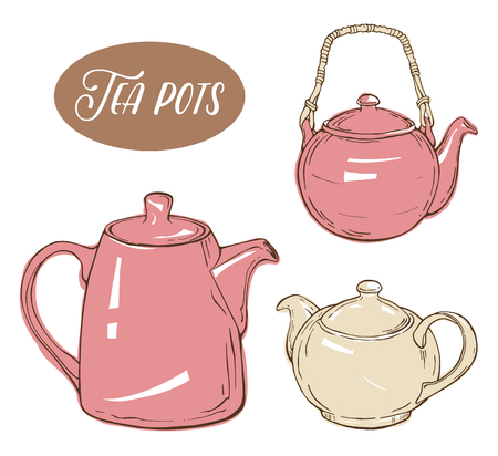 Set with three different teapots, isolated elements on white background. Vector illustration Illustration