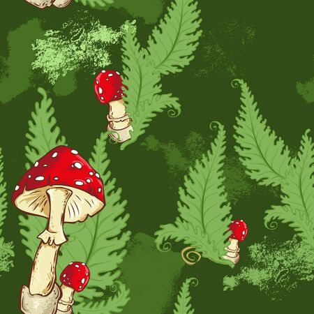 amanita: Seamless pattern with amanita mushroom and fern leaves on green background. Vector illustration Illustration