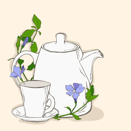 gree: Cute poster with teapot and cup and flowers of periwinkle. Vector illustration Illustration