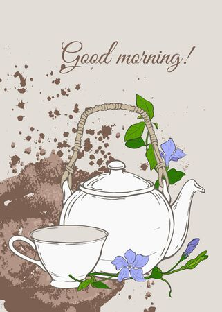gree: Vintage poster with teapot and cup and flowers of periwinkle on brown background. Vector illustration Illustration