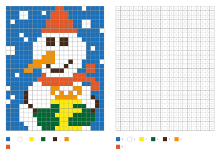 Kids coloring page, pixel coloring with funny snowman. Vector illustration