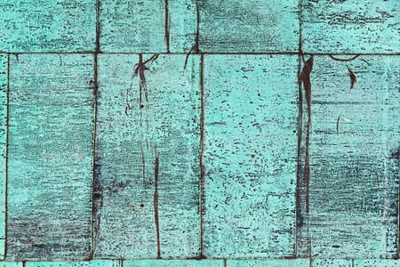 Texture background weathered turquoise paint shingles