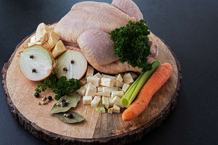 Raw ingredients for healthy chicken soup ready to cook Stok Fotoğraf