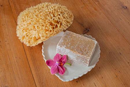 Olive soap natural sponge ecological body care Reklamní fotografie