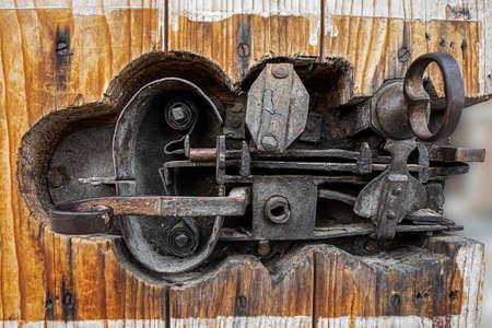 Antique door lock made of iron