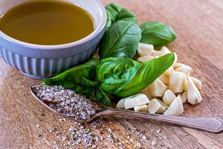 Ingredients for garlic herbal oil Stok Fotoğraf