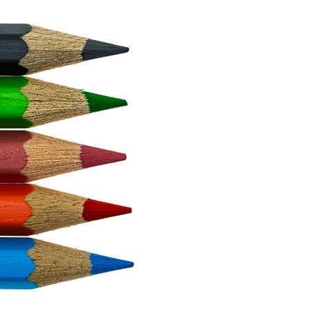 Colorful art pencils on white background