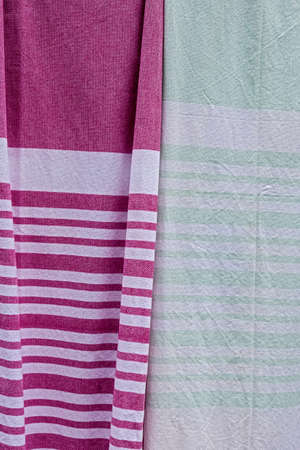 Red white and green white stripes cotton fabric Stock Photo