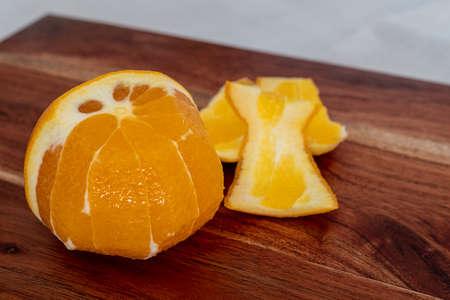 Prepared, peeled orange for filleting